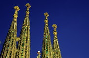 Architectural Feature Photos - Spires of the Sagrada Familia cathedral at dusk by Sami Sarkis