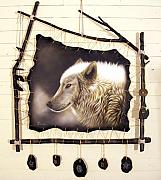 Leather Sculptures - Spirit Catcher Arctic Series - Arctic Wolf II by Sandi Baker