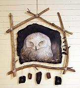 Leather Sculptures - Spirit Catcher Arctic Series - Snowy Owl by Sandi Baker