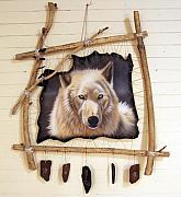 Dream Catcher Paintings - Spirit Catcher Arctic Series - Wolf by Sandi Baker
