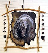 Dream Catcher Paintings - Spirit Catcher Equine Series - War Pony by Sandi Baker