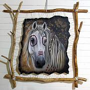 Painted Mixed Media - Spirit Catcher Equine Series - White War Pony by Sandi Baker