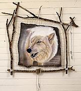 Wall Hanging Tapestries - Textiles - Spirit Catcher First Series - Arctic Wolf by Sandi Baker