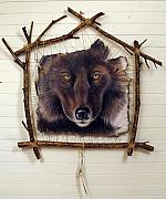 Wall Hanging Tapestries - Textiles - Spirit Catcher First Series - Wolf by Sandi Baker