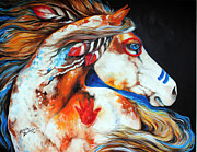 Feathers Posters - Spirit Indian War Horse Poster by Marcia Baldwin