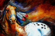 Feathers Prints - Spirit Indian Warrior Pony Print by Marcia Baldwin