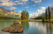 Maligne Lake Framed Prints - Spirit Island At Sunset, Maligne Lake Framed Print by Robert Postma