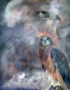 Animal Mixed Media Metal Prints - Spirit Of The Hawk Metal Print by Carol Cavalaris