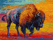 Western Painting Posters - Spirit Of The Prairie -  Bison Poster by Marion Rose
