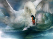 Wave Mixed Media Posters - Spirit Of The Swan Poster by Carol Cavalaris