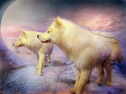 Animal Mixed Media Metal Prints - Spirit Of The White Wolf Metal Print by Carol Cavalaris