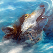 Metaphysical Painting Posters - Spirit Of The Wolf Poster by Brian  Commerford