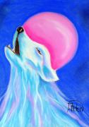 Luna Pastels Posters - Spirit of the Wolf. Poster by Jo Hoden