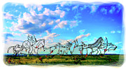 Oglala Digital Art - Spirit Warriors - Little Bighorn Battlefield Indian Memorial by Gary Baird