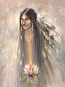 Native American Spirit Portrait Mixed Media Prints - Spirit Woman Print by Charles Mitchell