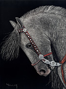 Etching Mixed Media - Spirited Andalusian by Linda Hiller