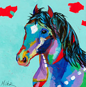 Colorful Horse Paintings - Spirited by Tracy Miller