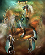 Equine Mixed Media Prints - Spirits Of Freedom Print by Carol Cavalaris