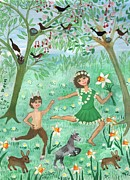 Faun Painting Posters - Spirits of Spring Poster by Sushila Burgess