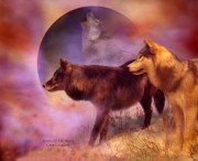 Animal Mixed Media Metal Prints - Spirits Of The Moon Metal Print by Carol Cavalaris
