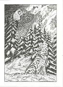 Snowy Trees Drawings - Spirits of The Moon by Thomas  Ferguson