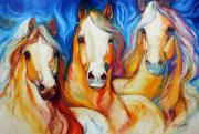 Mustang Paintings - Spirits Three by Marcia Baldwin