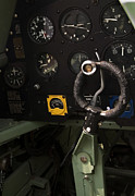 Supermarine Prints - Spitfire Cockpit Print by Adam Romanowicz