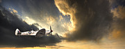 Stormy Sky Prints - Spitfire Print by Meirion Matthias