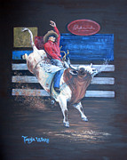Bull Riding Paintings - Spitting Bull  by Tanja Ware