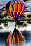 Hot Air Balloon Digital Art Prints - Splash and Dash with a Hot Air Balloon Print by David Patterson