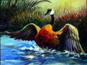 Canadian Geese Paintings - Splash Dance by David  Maynard
