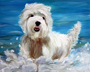 Westie Puppies Posters - Splash Poster by Mary Sparrow Smith