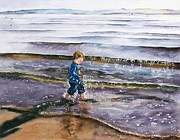 Maureen Dean Framed Prints - Splashing in the Tide Framed Print by Maureen Dean