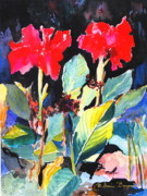 Canna Paintings - Splashy by M Diane Bonaparte