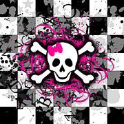 Girly Skull Posters - Splatter Girly Skull Poster by Roseanne Jones