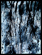 Yellow Black White Silver Prints - Splatter Roots 04 Print by Kalie Hoodhood