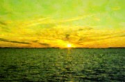Amazing Sunset Mixed Media Prints - Splendid Sunset Print by Florene Welebny