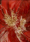 Splishy Splashy Red And Gold Print by Anne-Elizabeth Whiteway