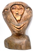Carved Sculptures - Split personality. Olive wood Sculpture by Eric Kempson
