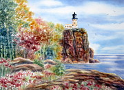 Deb Ronglien Watercolor Posters - Split Rock Lighthouse Poster by Deborah Ronglien