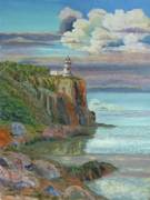 Stone Pastels Posters - Split Rock Lighthouse Poster by James Geddes