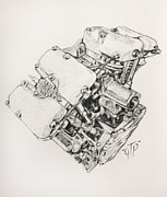Motorcycle Drawings - Split Rocker Shovel by George Frizzell