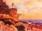 Warm Colors Painting Prints - Split Rocks Golden Memories       Print by Kathy Braud
