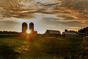 Cloudy Skies Prints - Split Silo Sunset Print by Benanne Stiens