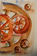 Country Western Paintings - Split Wheels right by Elaine Duras