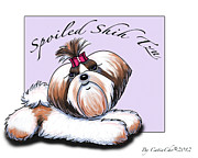 Puppy Mixed Media - Spoiled Shih Tzu by Catia Cho