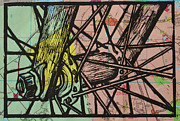Linocut Drawings Originals - Spokes on Map by William Cauthern