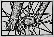Linocut Drawings Originals - Spokes by William Cauthern