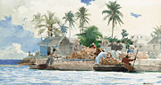 Boats On Water Framed Prints - Sponge Fisherman in the Bahama Framed Print by Winslow Homer