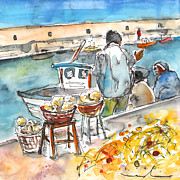 Fishermen Drawings - Sponge Fishermen in Heraklion by Miki De Goodaboom